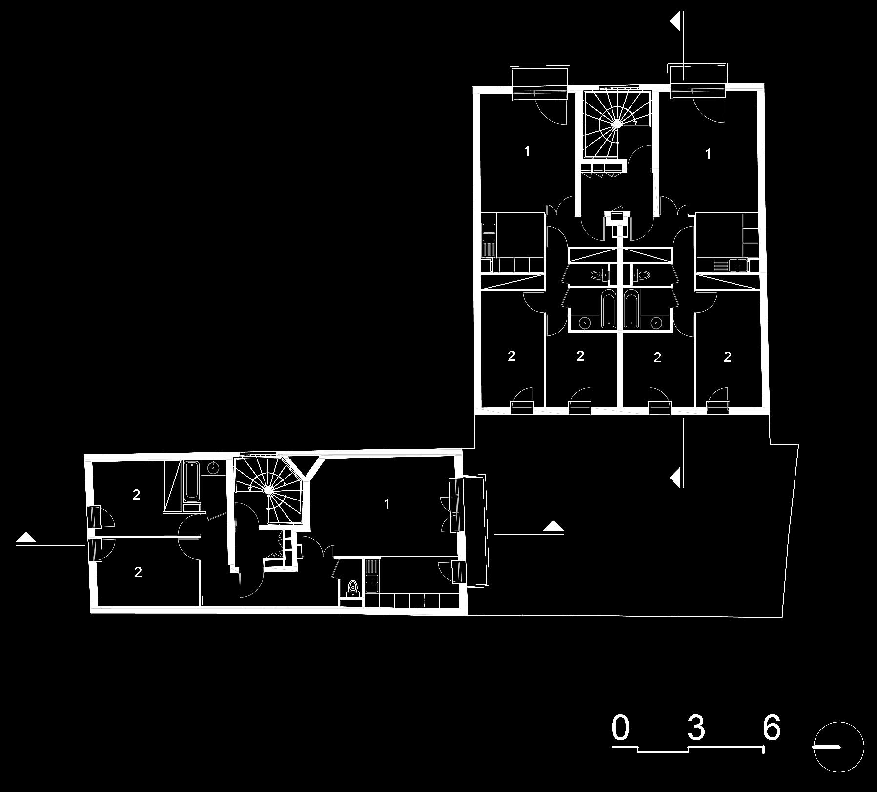 Plan étage courant :  1- Séjour, 2- Chambres.