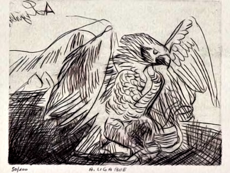 EAGLE DRYPOINT, 19x24,6 CM ON PAPER 40,7x69,6 CM