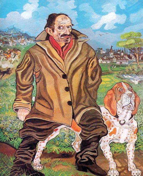 SELF-PORTRAIT WITH A DOG, OIL ON MASONITE, 168x130 CM