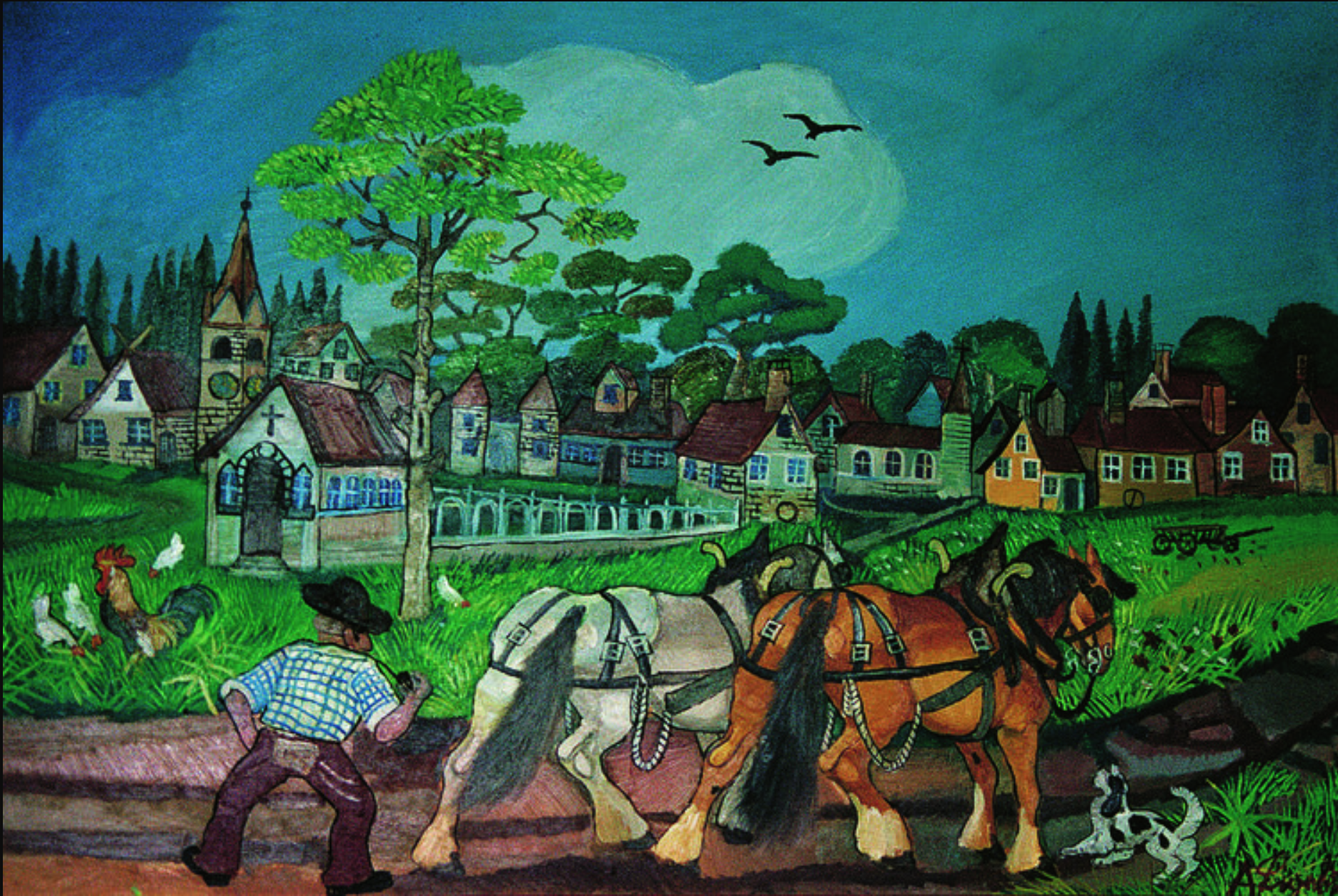 RETURN FROM THE FIELDS, OIL ON MASONITE, 65x100 CM