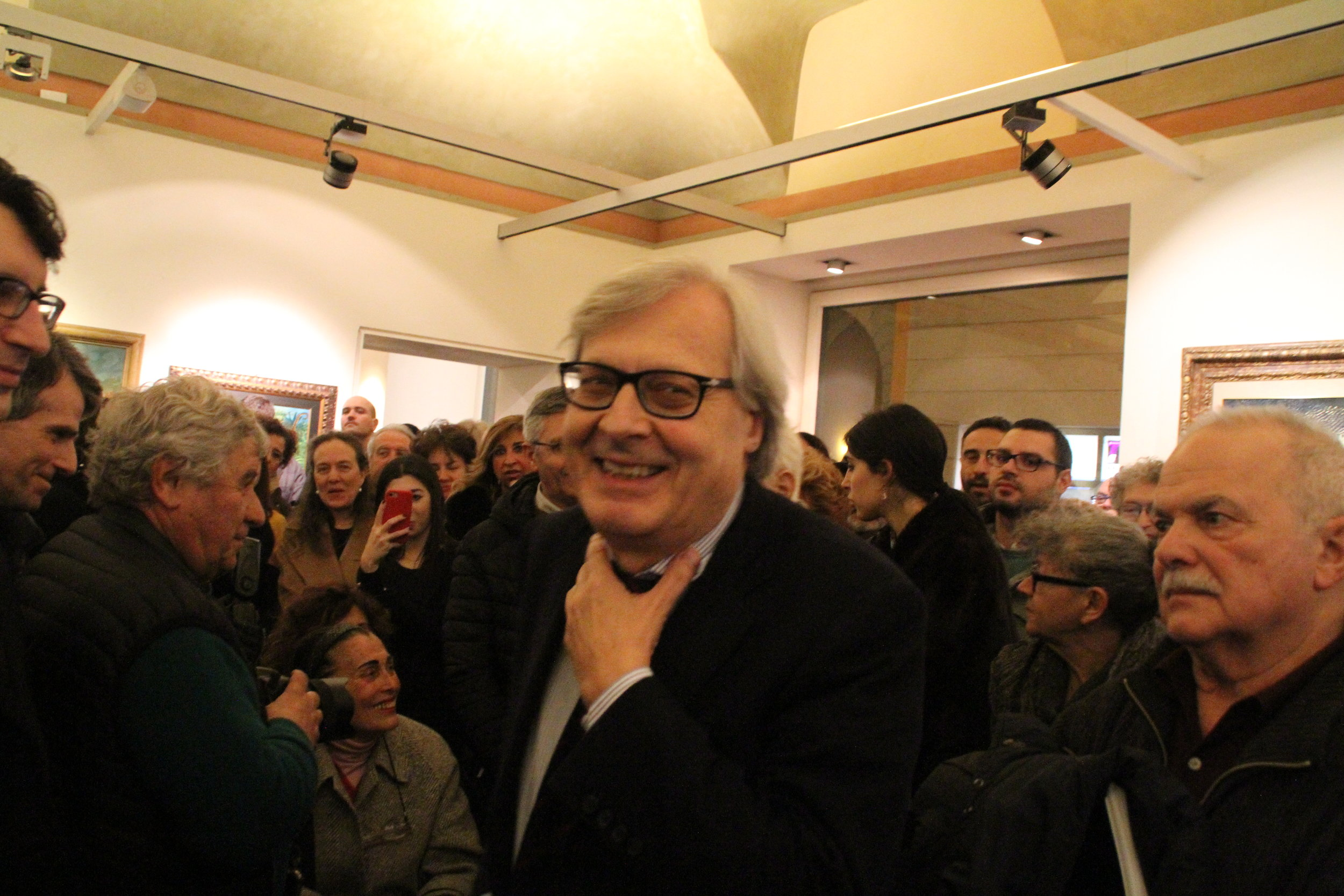 Prof. Vittorio Sgarbi at the opening of the exhibition