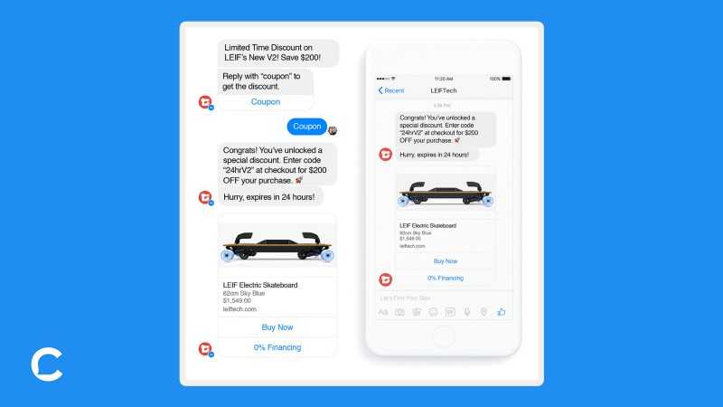 Screenshot of coupon delivery messaging sequence