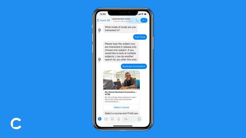 Users search for courses of interest and instantly register within Messenger