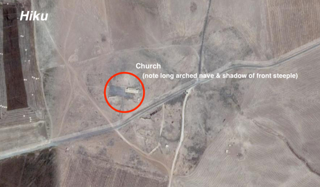 Fig. 5    Satellite imagery showing identifiable religious buildings in the Jaziran villages of al-Hazumiyah and Hiku.
