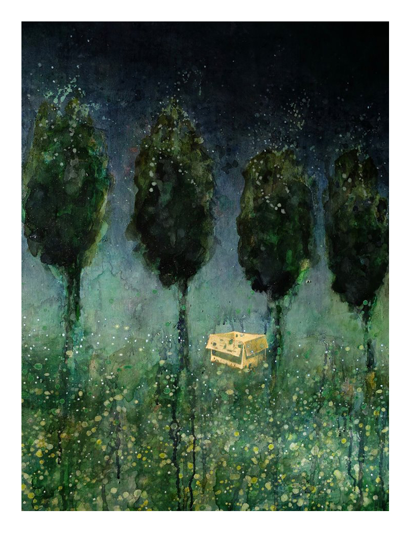 """Cardboard box in a forest""."