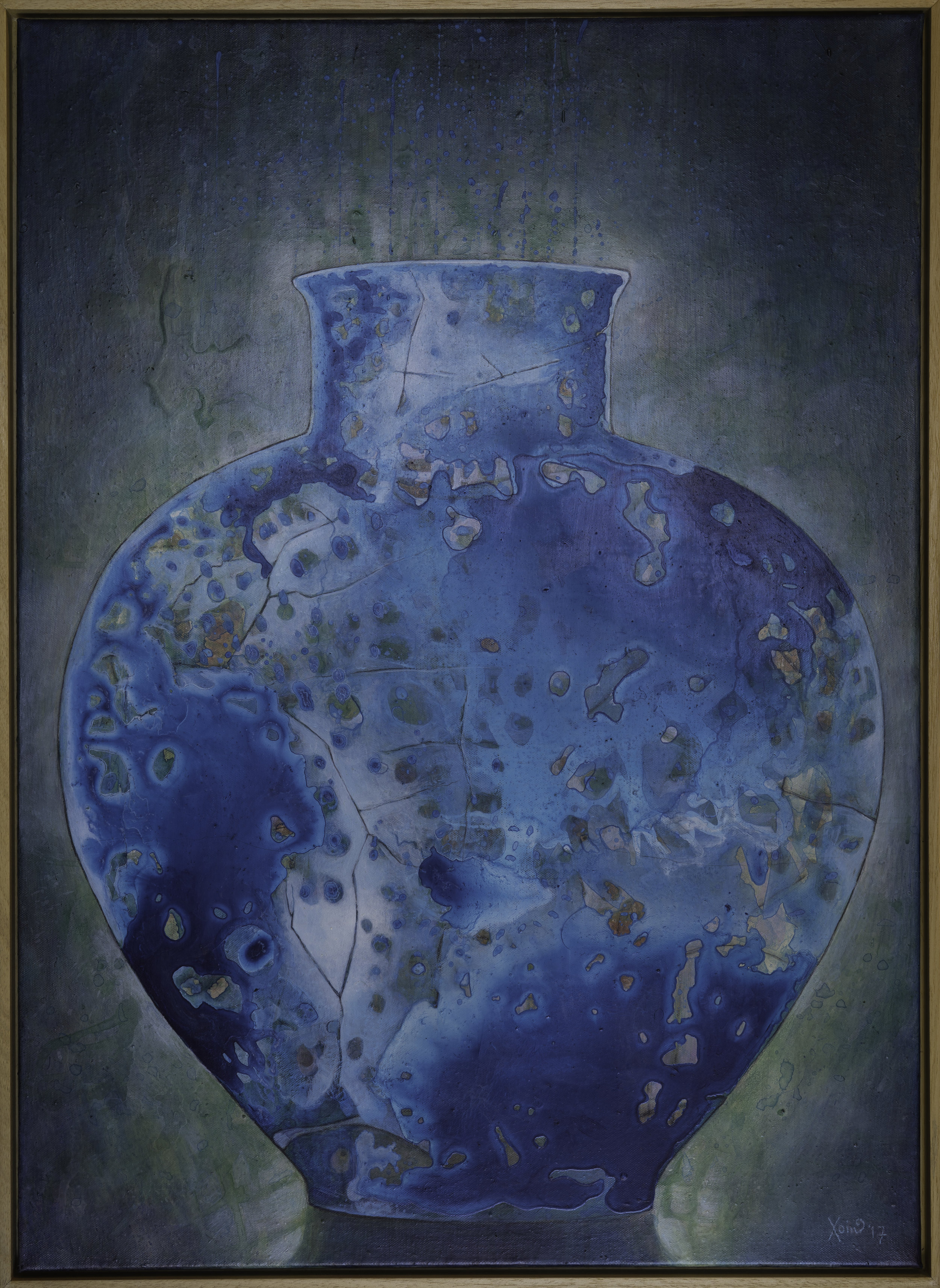 """Cracked Blue Vase"" 92.5cm x 67.5cm (Framed). Acrylic/Charcoal on Canvas. 2017"