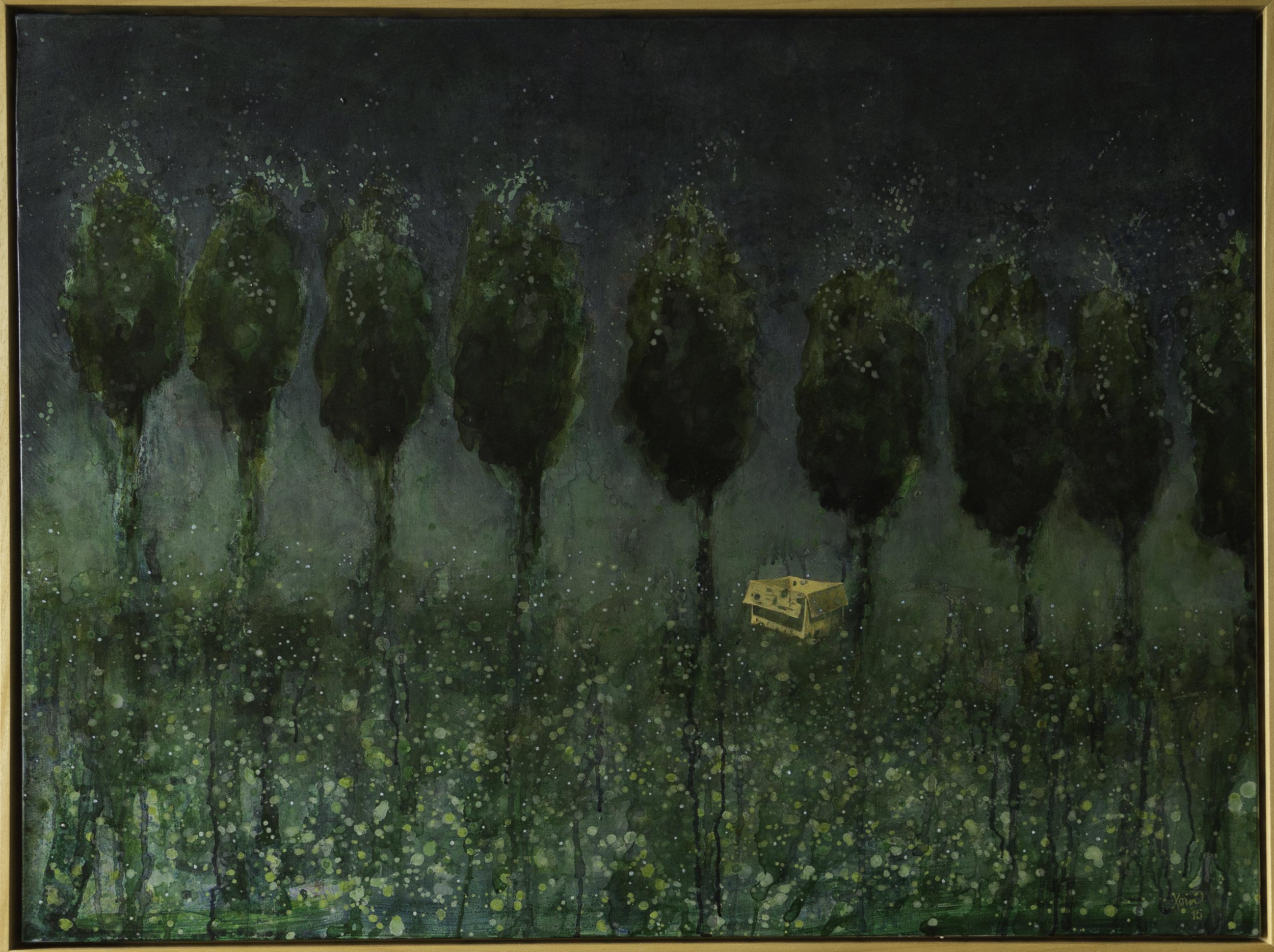 """Cardboard box in a forest"" 78.5x104.5cm (Framed). Acrylic on canvas 2015."