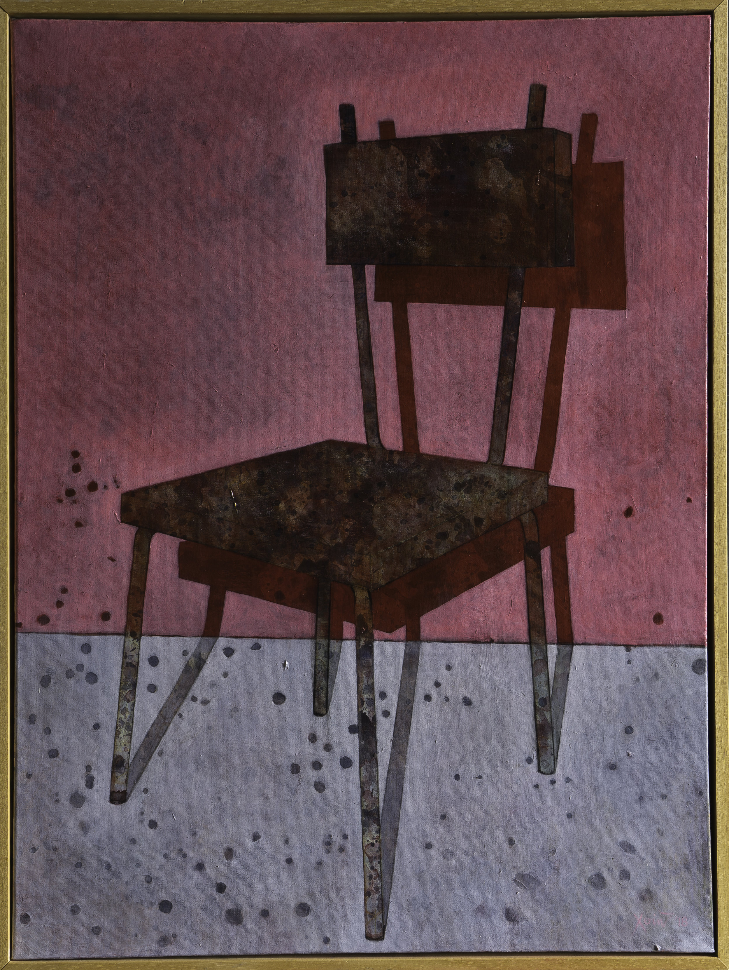 """Rusty old chair with a red shadow"" 62.5cm x 86cm (Framed) Charcoal, acrylic on canvas. 2018."