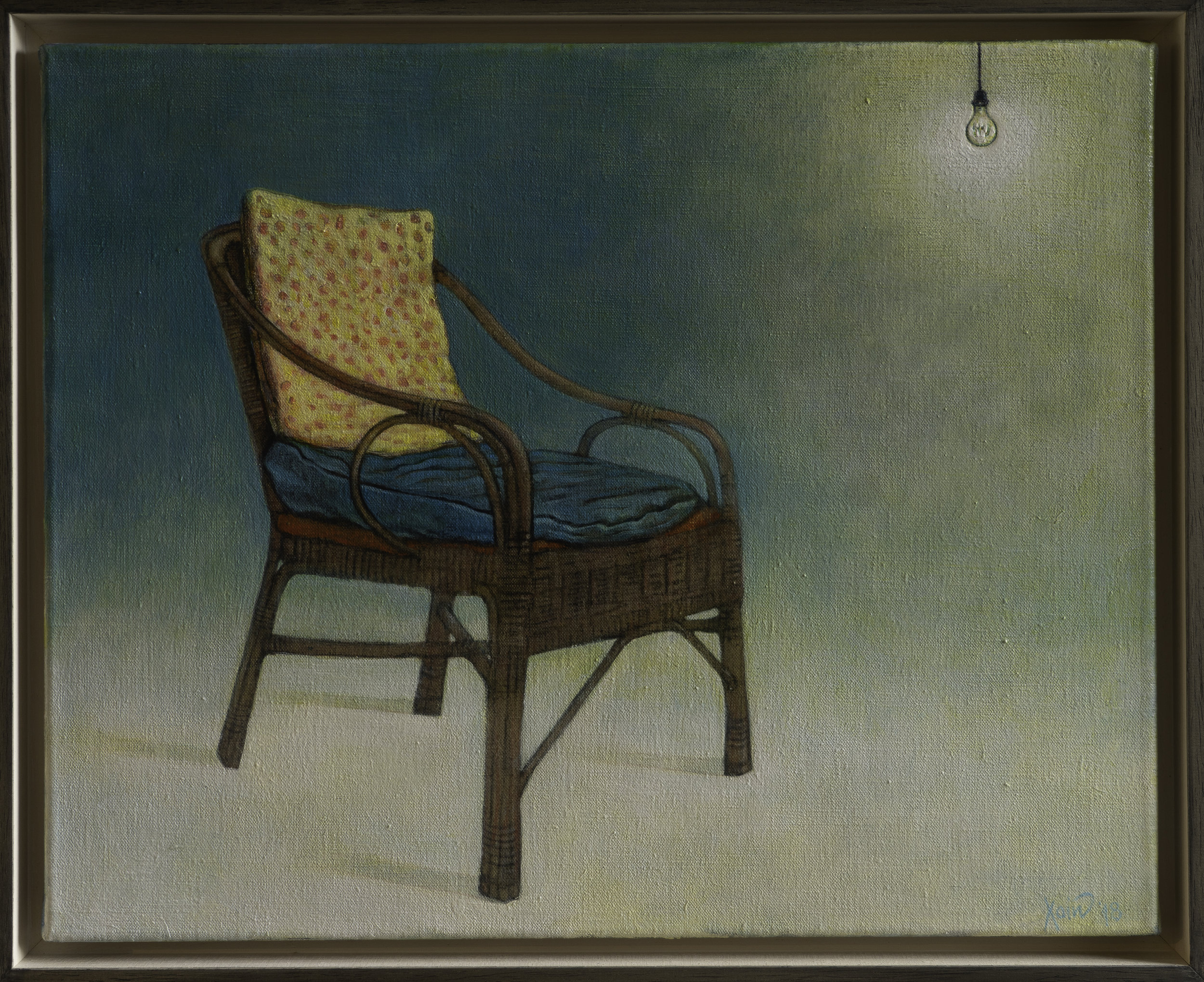 """""""Old chair with lightbulb"""" 50cm x 40cm (Framed) Charcoal and acrylic on linen, 2018."""