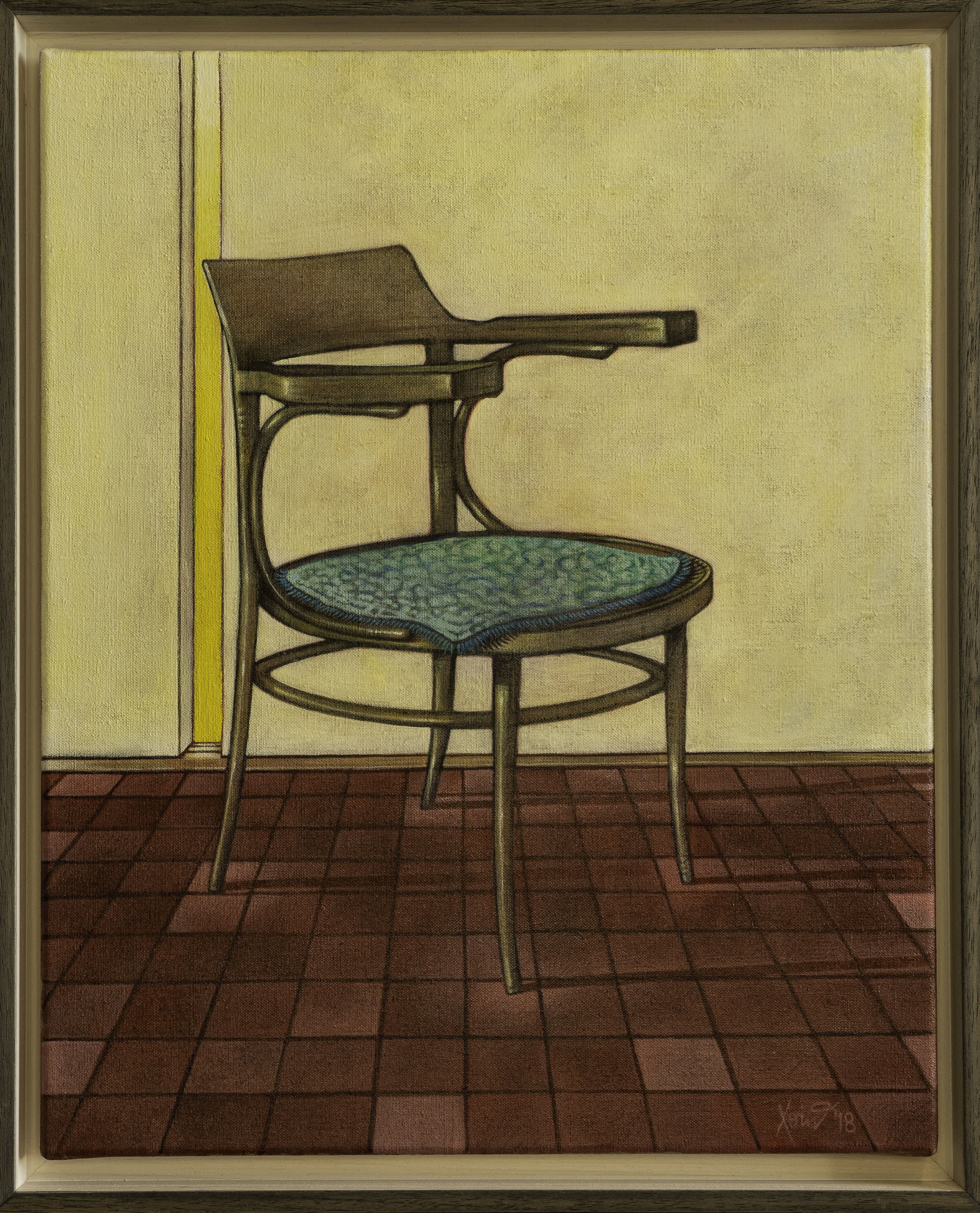 """""""Kitchen Chair"""" 40cm x50cm (framed) Charcoal and acrylic on Linen, 2018."""