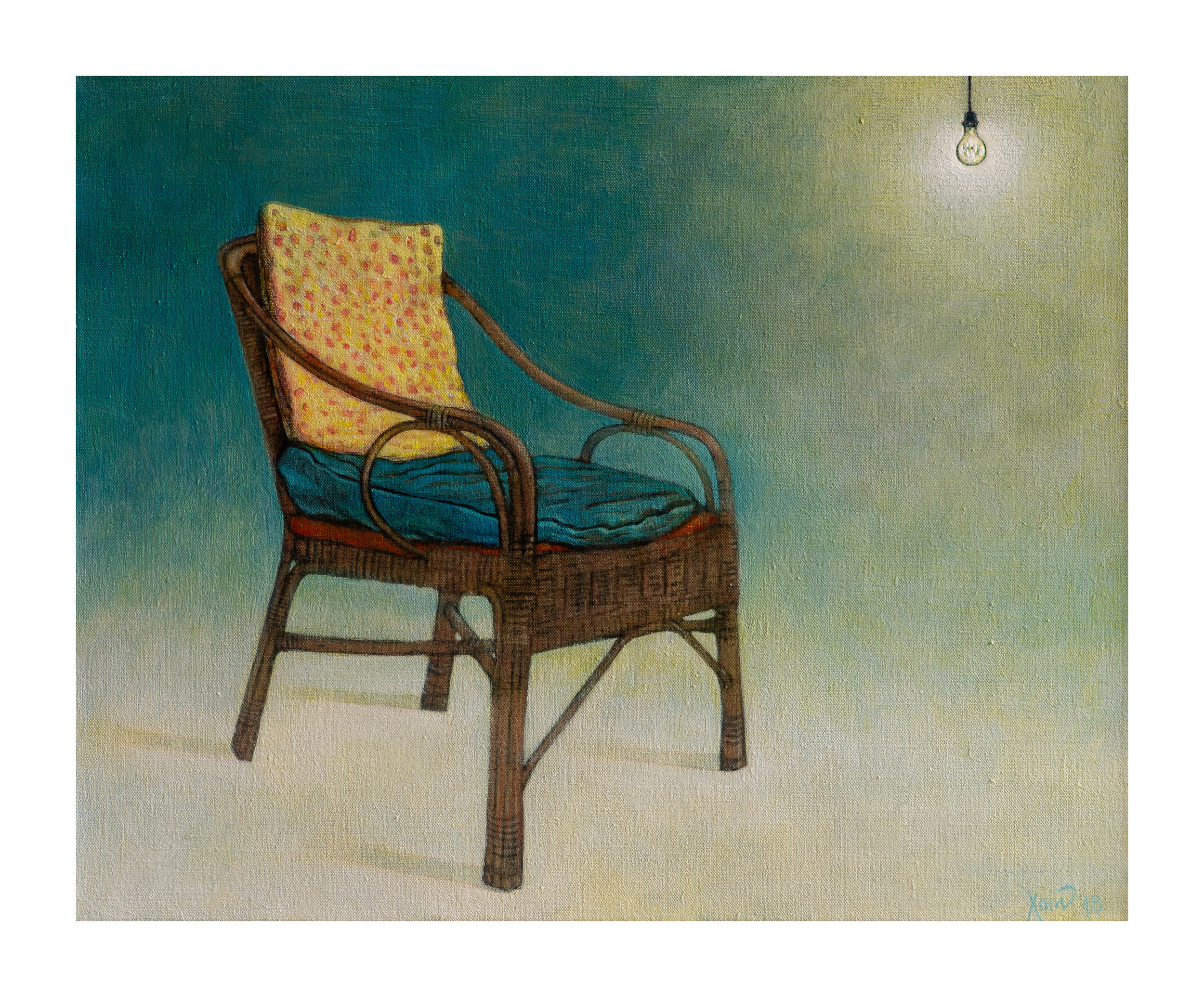 """Old chair with lightbulb"""
