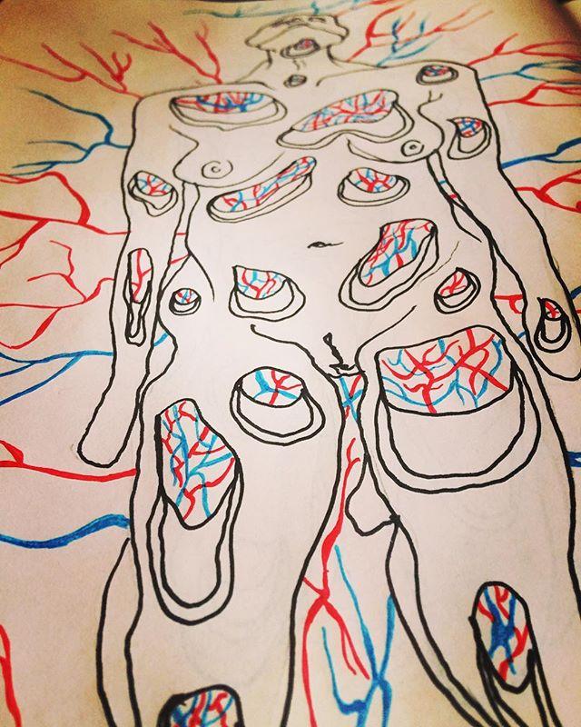 Having too much fun with these kneeling #figures #figure #femaleform #arteries #veins #capillaries #medicalart #anatomical #anatomicalart #lifedrawing #mindandbody #body #pyschogenic #psychogenicpain #drawing #illustration #sketch #sketchbook #processart #anatomy #blood #subconcious #pain #trypophobia #humanform #art #berlinart