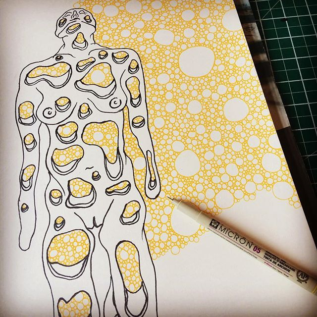 #drawing so many #holes enlarging #sketchbook work to #exhibit at our #artistcollective, #theemporiumofeverydayexcellence next #popupshop in #retrampgallery.  #body #tryphophobia #medicalart #lifedrawing #anatomicalart #gallery #scienceart #neuralnetworks #microscopic #macroscopic #sculptorsdrawings #femaleform #drawingfromlife #dualism #mind #control #brain #infection #creature #web #traces #psychogenic