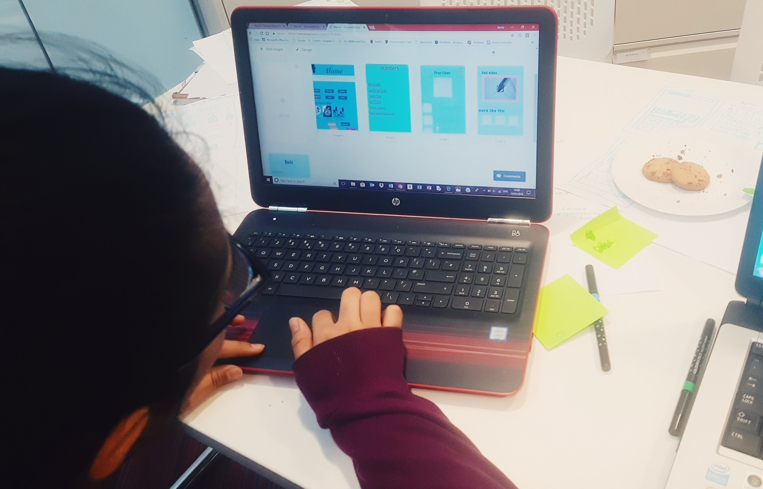 Team MyMaths: Designing an interactive prototype based on the designs they sketched as a team.