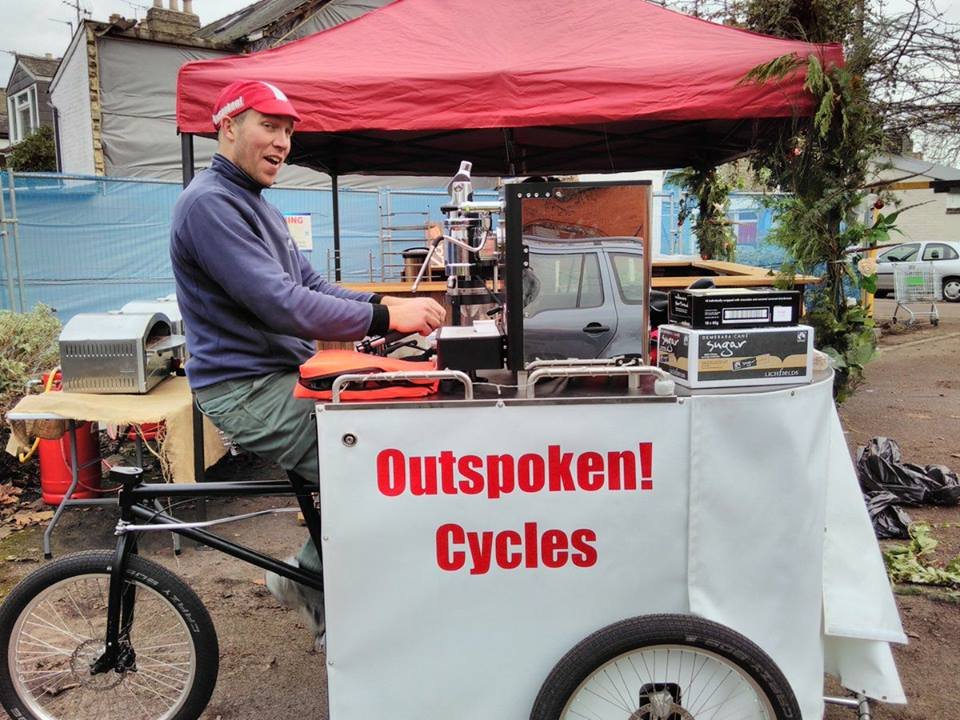Mark serving some wheely great coffee with Outspoken Cycles