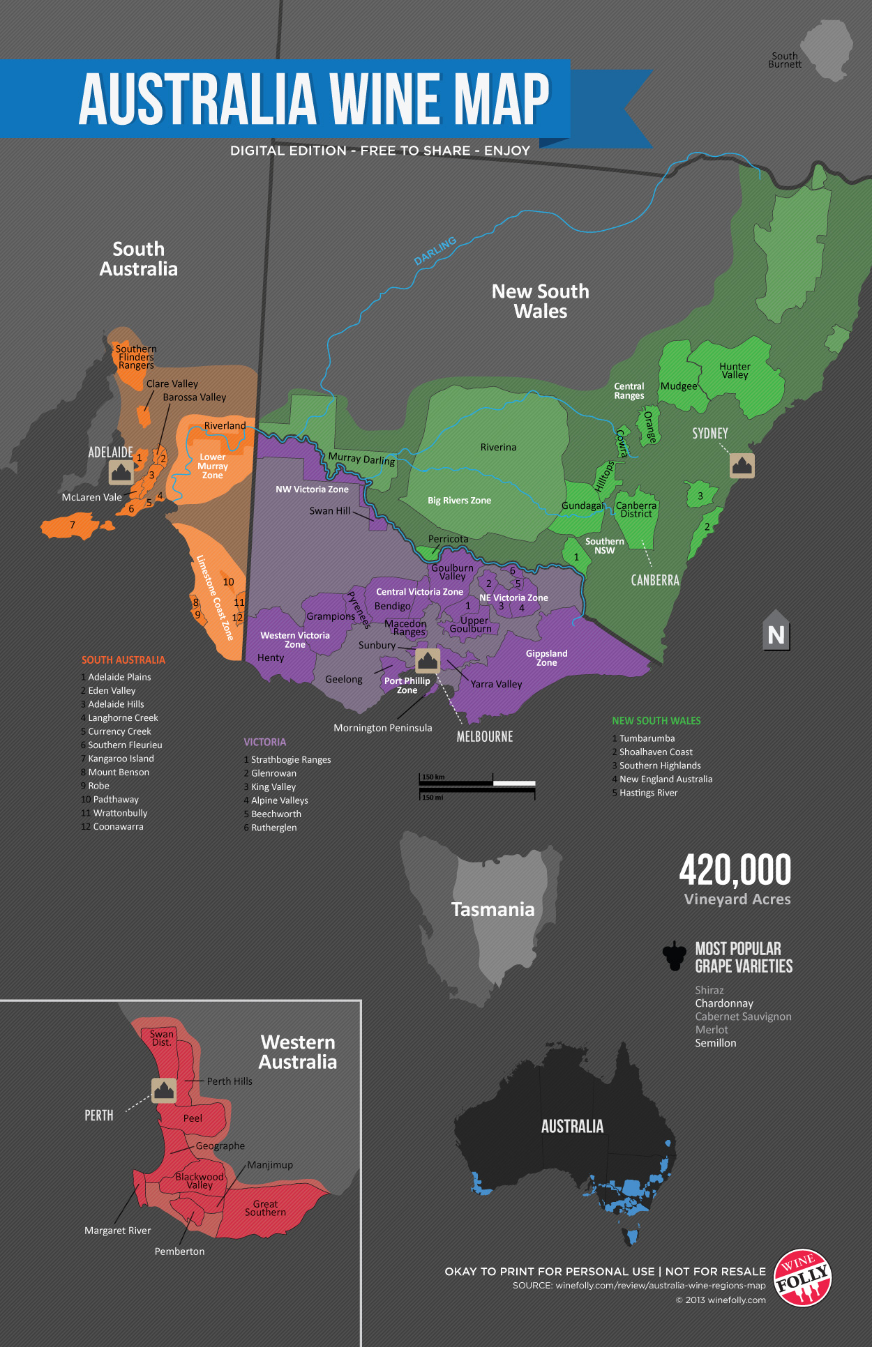Wine Folly Map of the Wine Regions in Australia