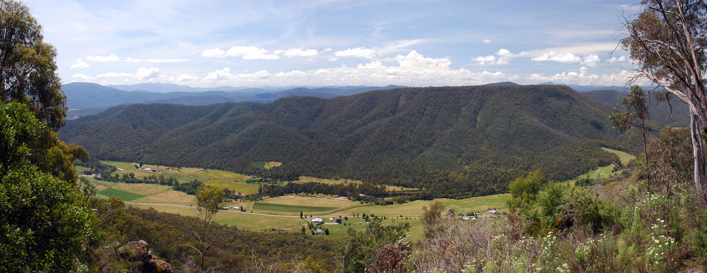 The rolling hills in the high altitude Whitlands of Victoria, Australia