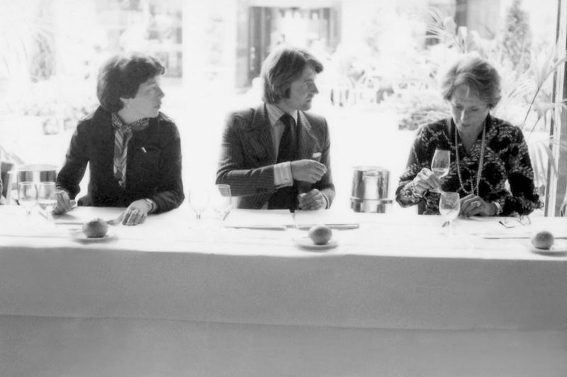 Patricia Gallagher (from left), who first proposed the tasting; wine merchant Steven Spurrier; and influential French wine editor Odette Kahn.Image courtesy of Bella Spurrier.  Image Source