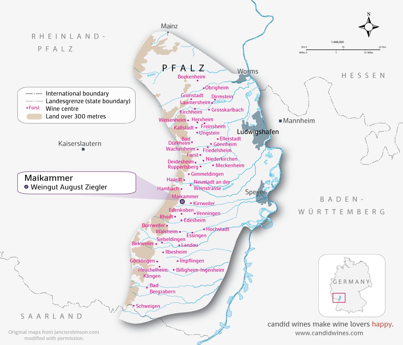 Overview of the Pfalz Wine Region.