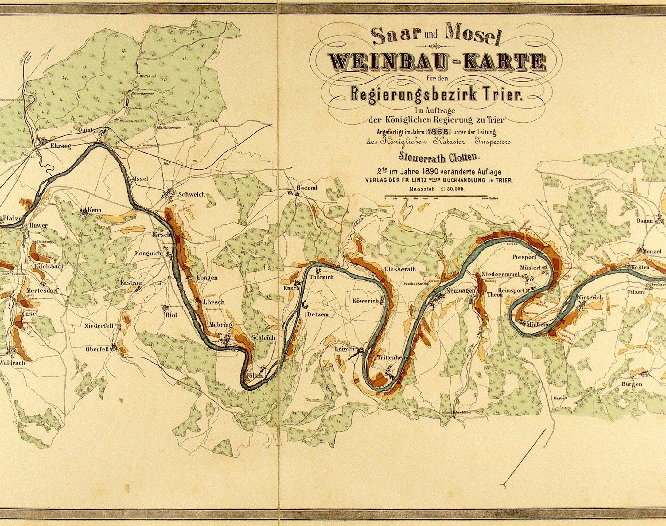 Old map tracing the Mosel and Saar Rivers.