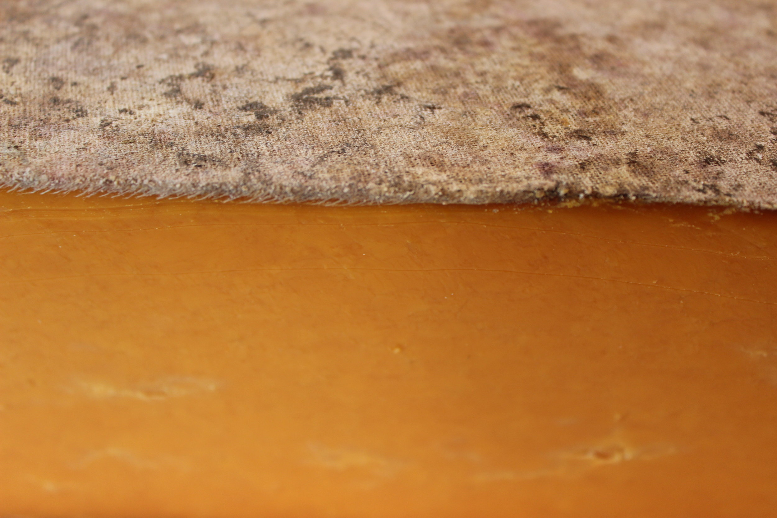The stunning Sparkenhoe Red Leicester; note its clothbinding