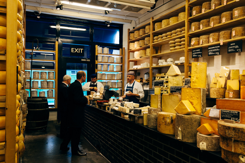 Inside the Borough Market shop, notice the wheels of cheese on the walls, those are real cheese and are slowly maturing until one day they sit on the slate counter for sale