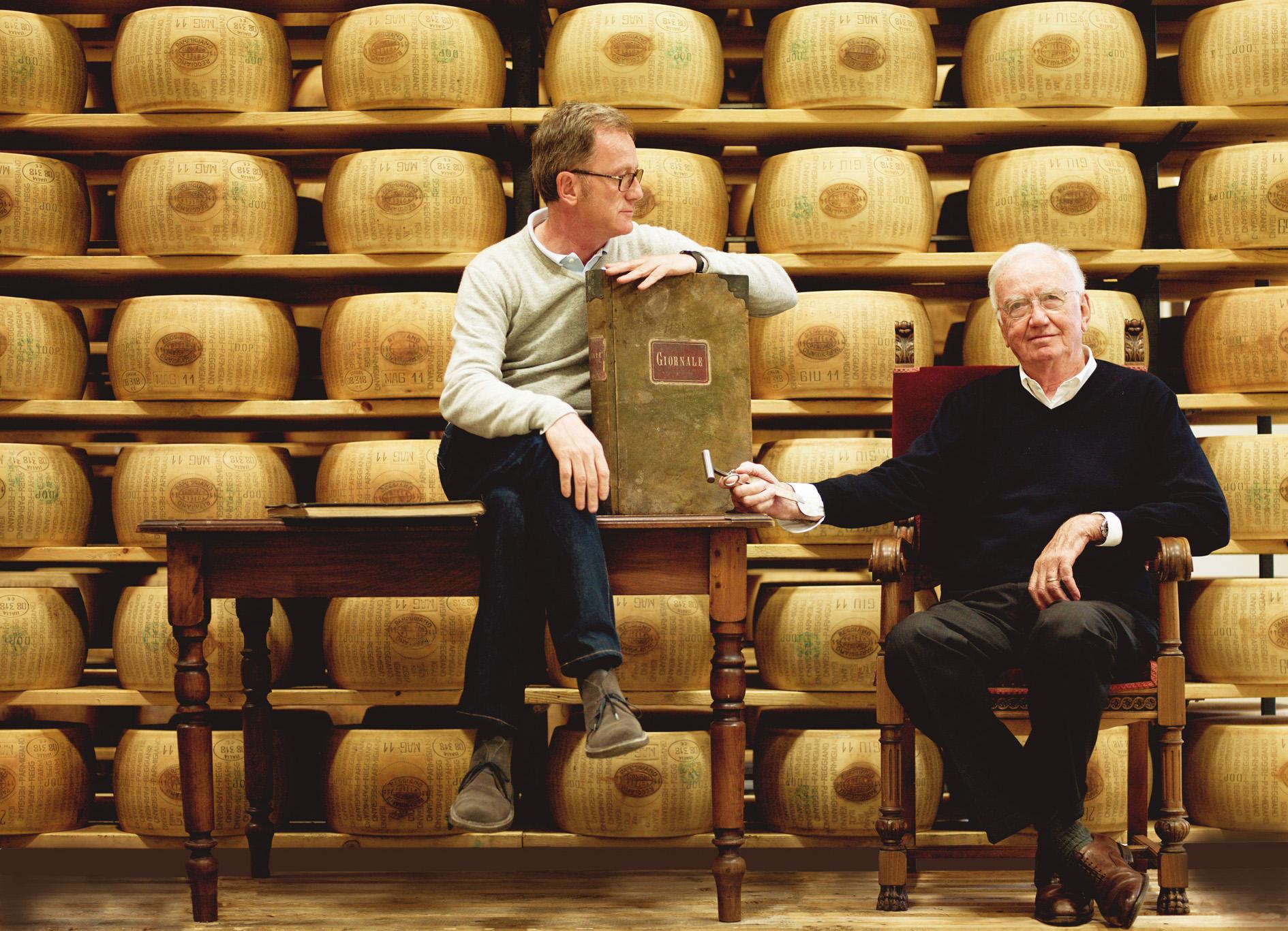 Giorgio and his father Giacomo, with the original family ledger