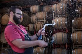 Michael Cruse disgorges a sparkling wine