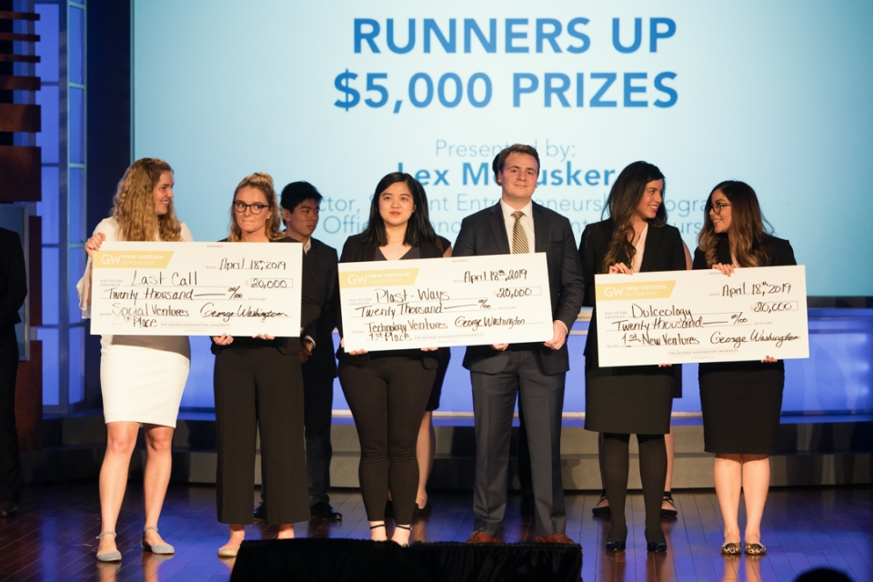 "Dulceology wins First place in GW New Venture Track - April 18, 2019.Dulceology took first-place in the New Venture track at the George Washington University New Venture Competition and were awarded a total of $35,000 to fund their venture!""You think we're here to make cookies, but we're really here to make dough"