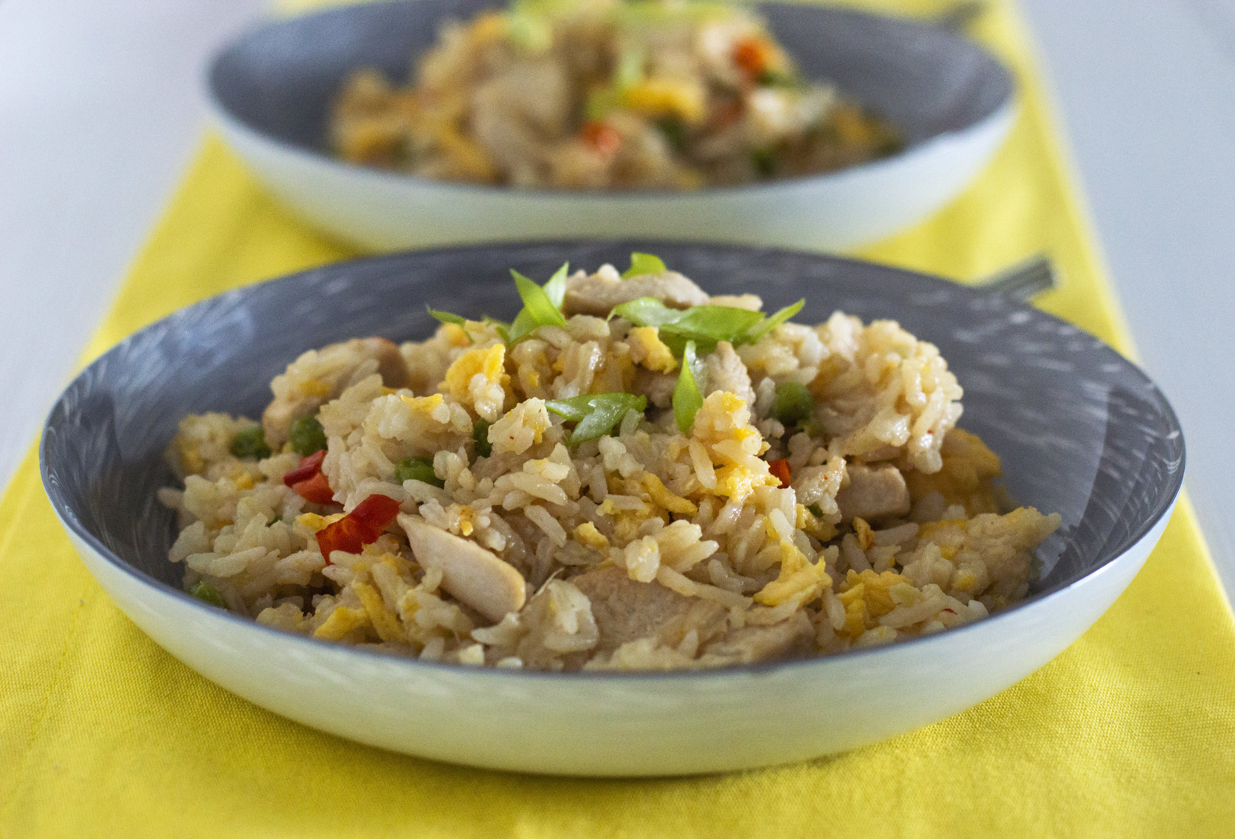 Chicken Egg-Fried Rice - This quick and easy one-pot chicken stir fry is a great dish to meal prep or to feed the family. This recipe uses asian ingredients and cooking technique bringing out a lot of delicious flavours. This is a also a inexpensive dish costing approximatly £1.10 per portion.