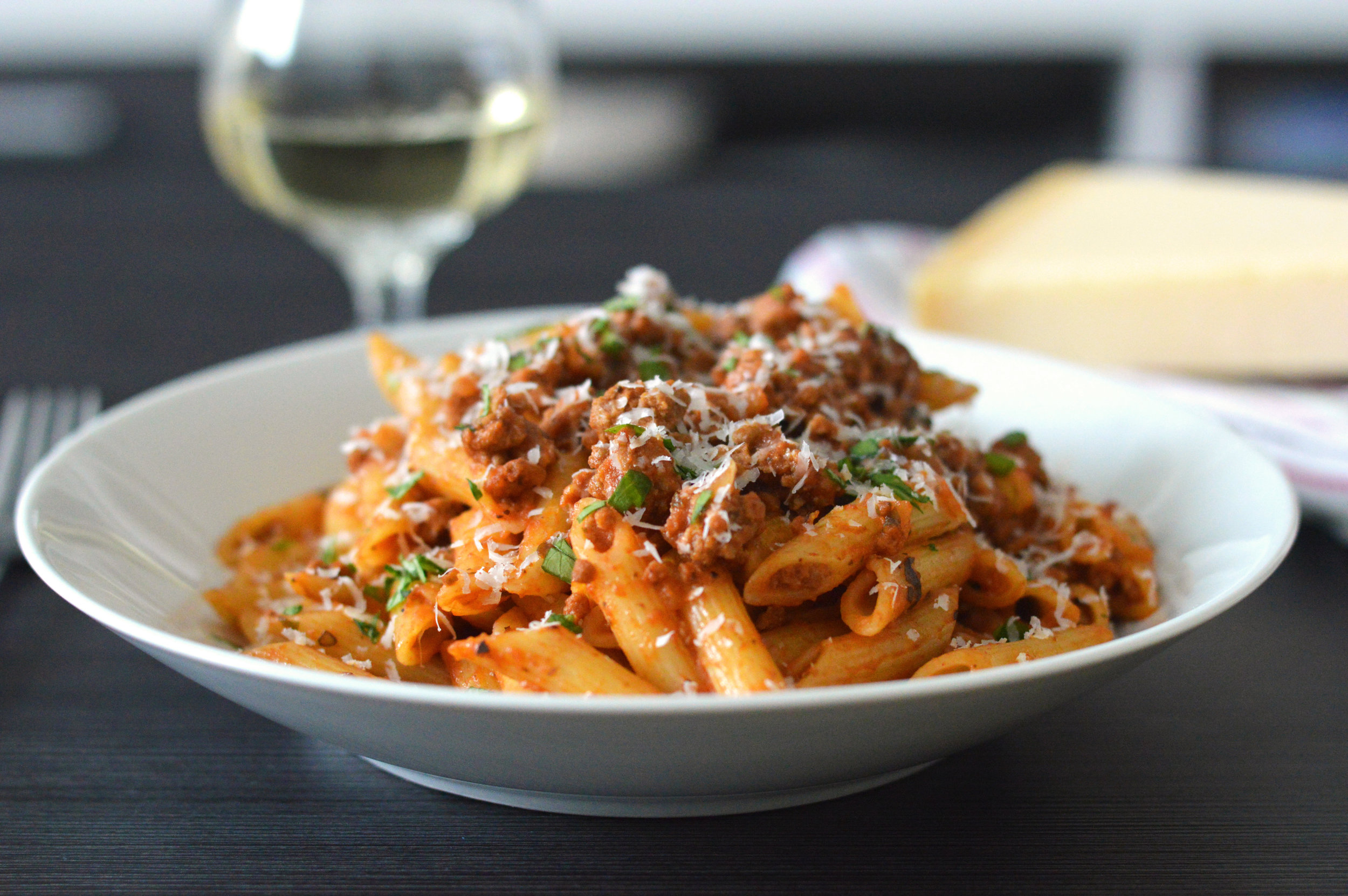 Italian Sausage Pasta - This simple recipe is delicious and hearty, making it a great option for dinners for the upcoming cold weather. This recipe also pairs very well with wine and can easily be made in larger batches for large dinners.