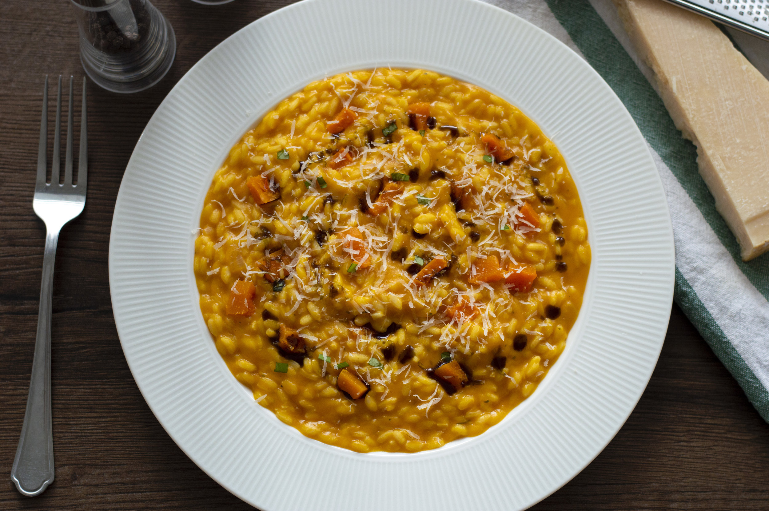 Pumpkin Risotto - This recipe will teach you how to make a chef-standard risotto. This hearty, seasonally risotto is a perfect autumn comfort food! An excellent dish for a dinner party or to make for family and friends.