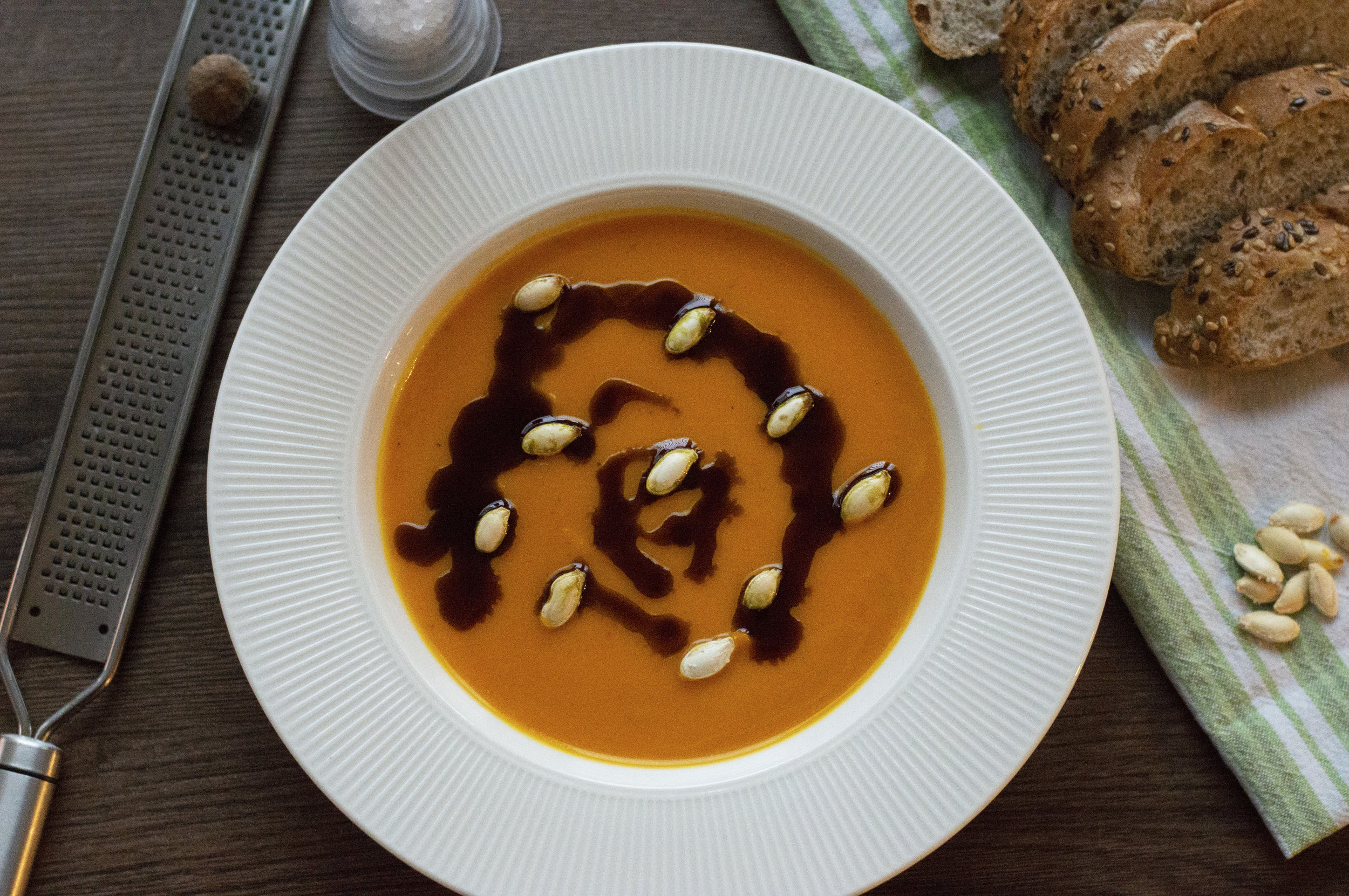 Pumpkin Soup - This simple yet impressive pumpkin soup makes for a great starter or light supper. Its sweet & hearty with a smooth texture. Eat with a side of fresh bread for a more wholesome meal or try with a sprinkle of croutons on top. This soup is high in vitamins A & C and is also vegan!