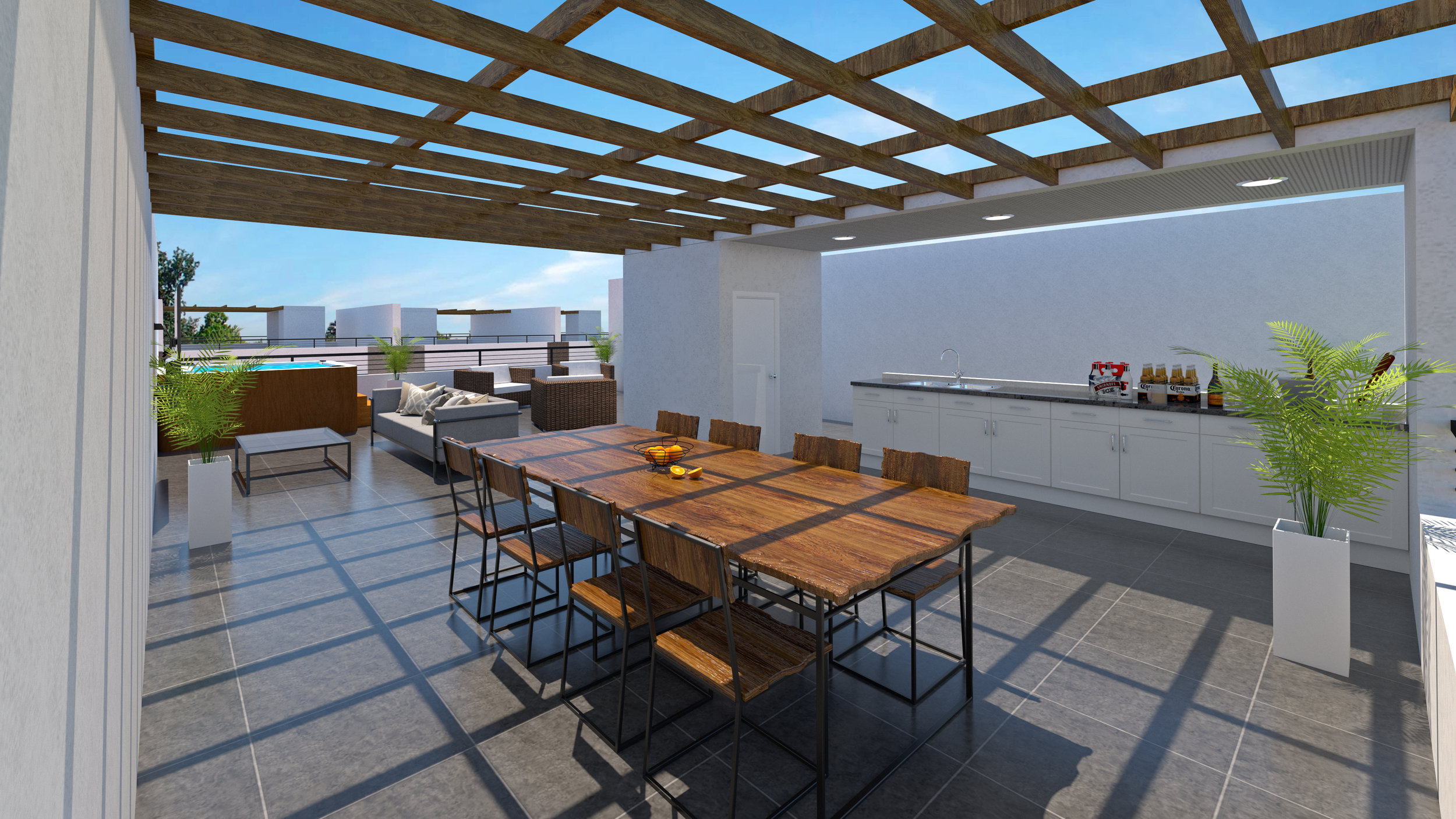 Private roofdecks with full kitchen capability