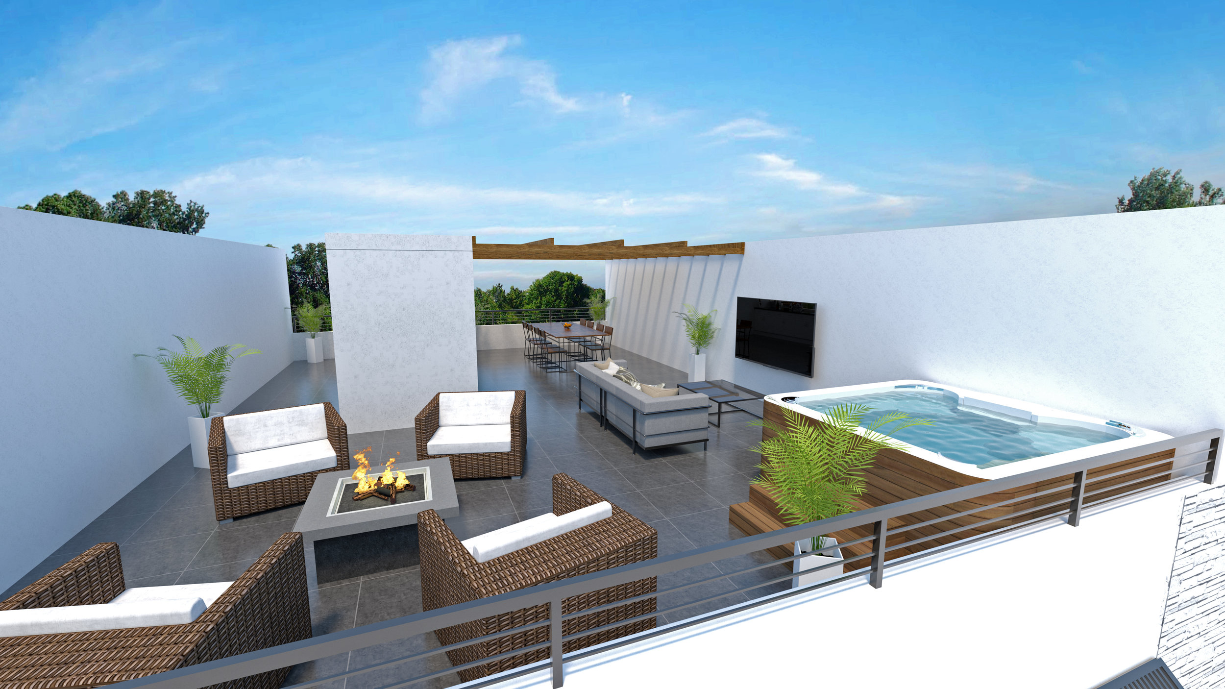Jacuzzi-capable, the roofdeck is a the new backyard with a spacious, functional layout.
