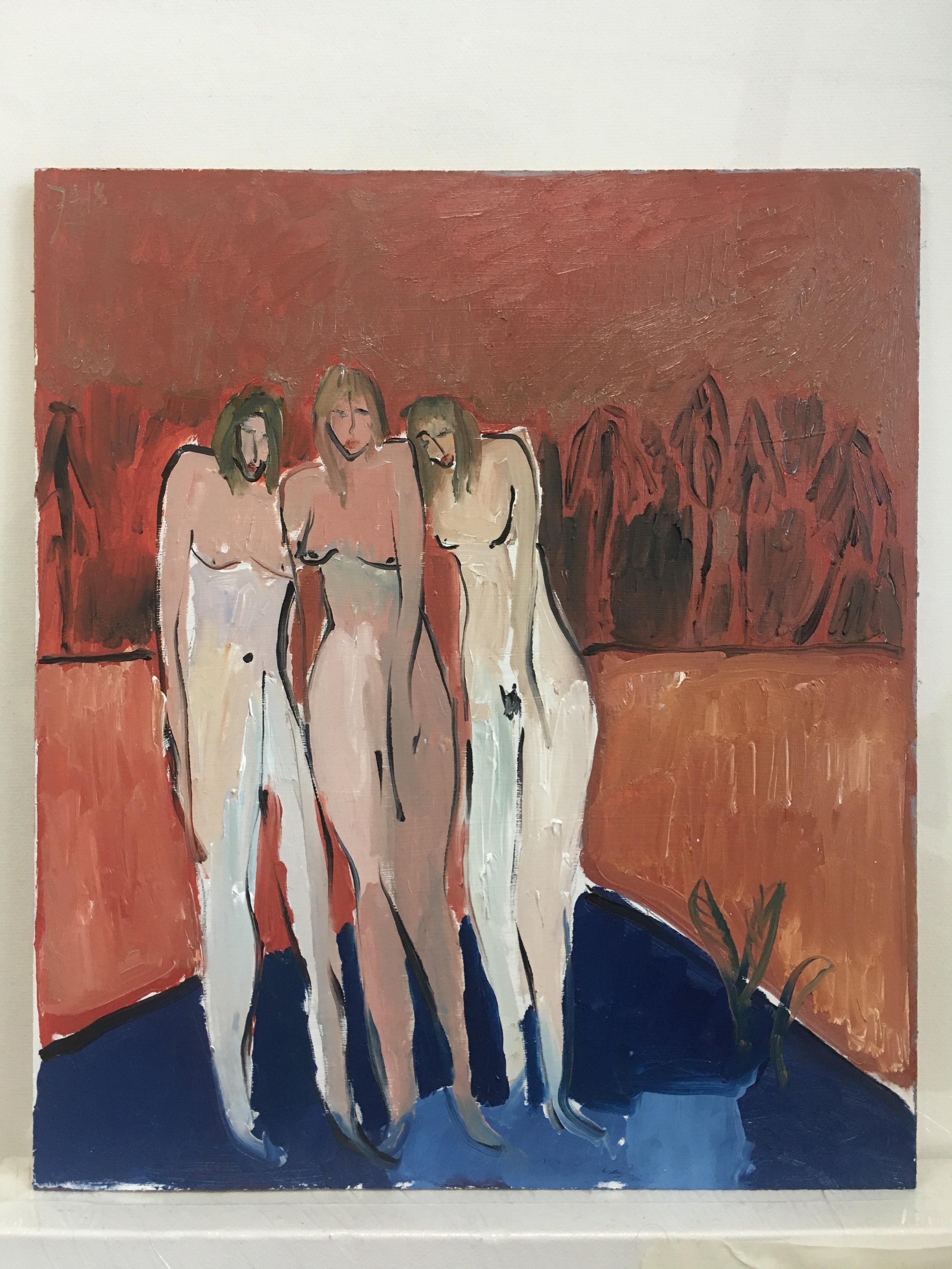 three nudes paddling  oils on board