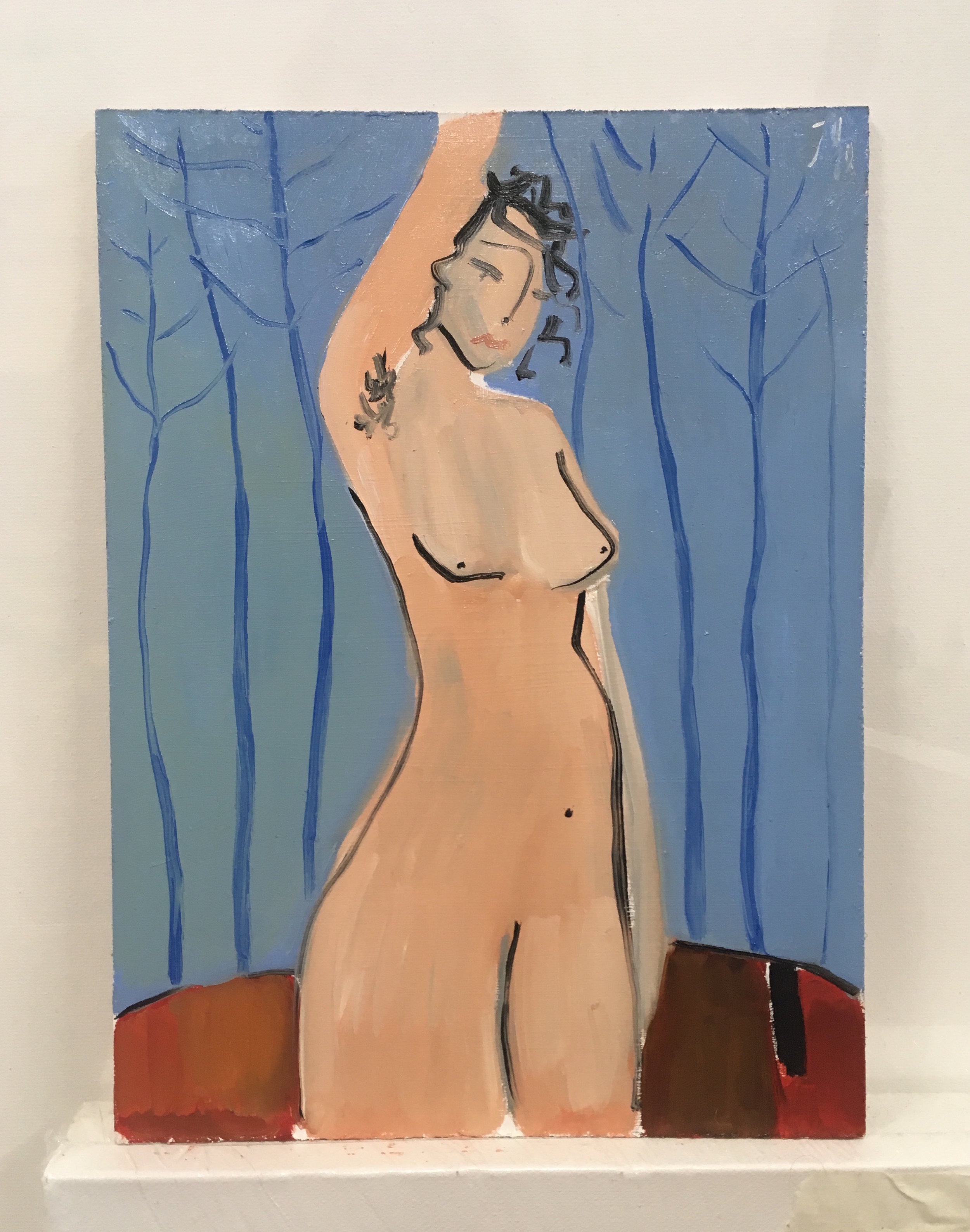 Stand alone nude  oils on board