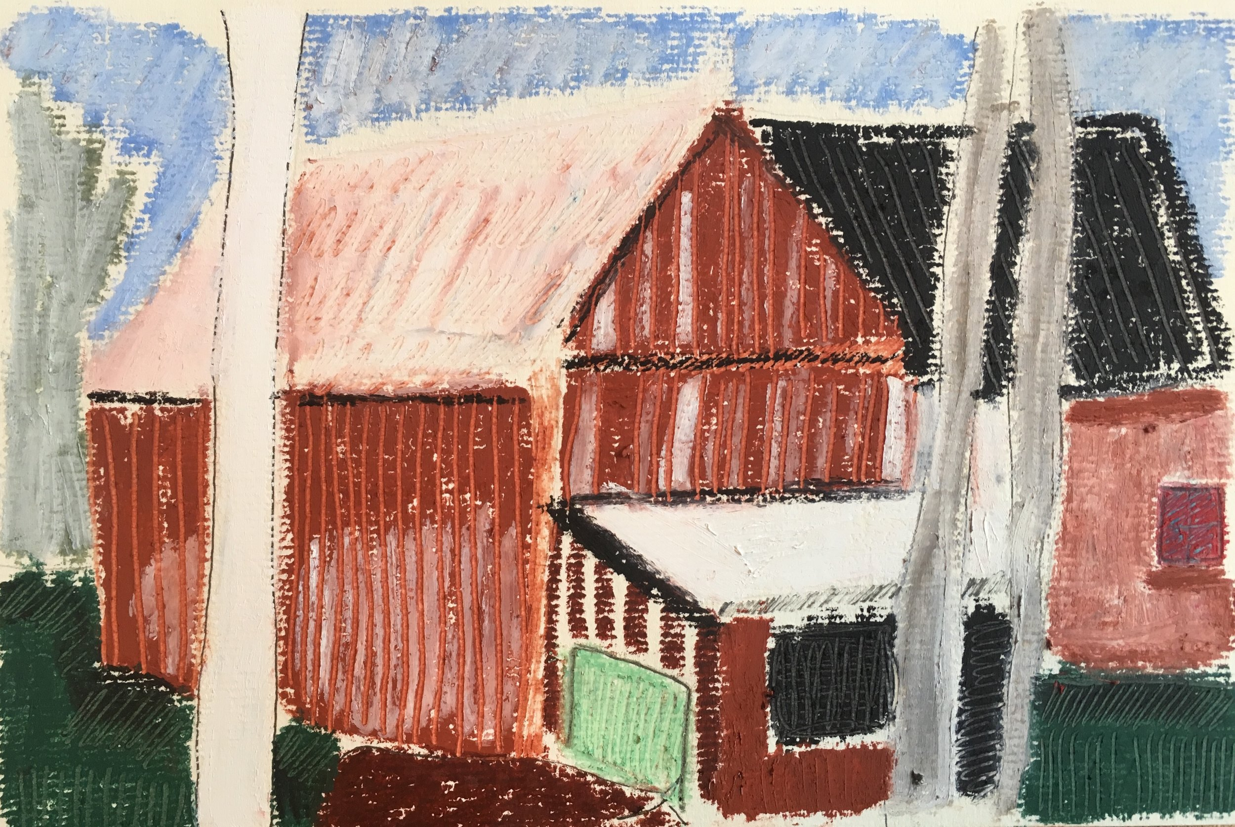 Swedish farmhouse  Oil Pastel on Paper