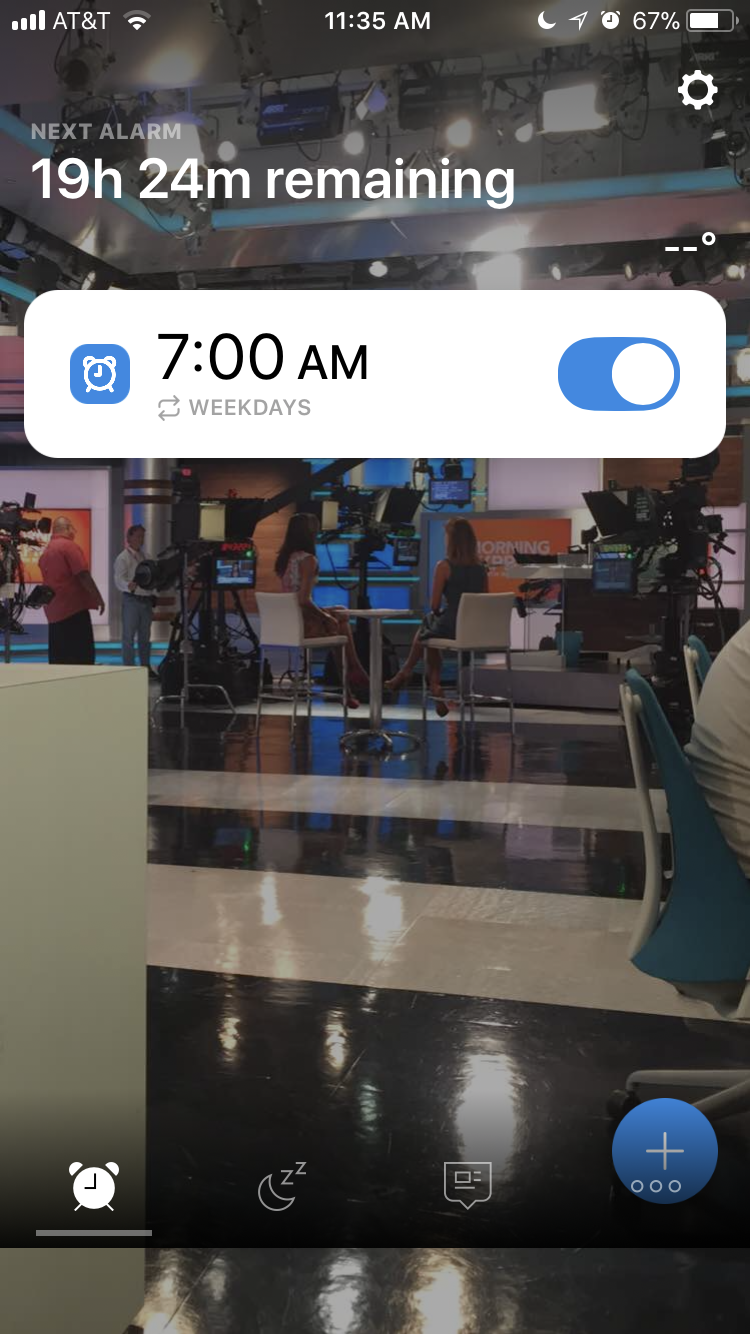 A screenshot of my Alarmy app. The background is the CNN Center's Studio 7 from when I went to shadow HLN Trending Correspondent, Melissa Knowles. Automatic morning inspiration.