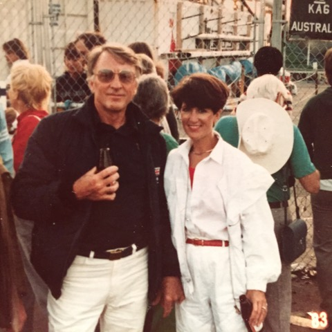 Ken and Margreth at a Formula 1 race (he was a sponsor) somewhere in the world.