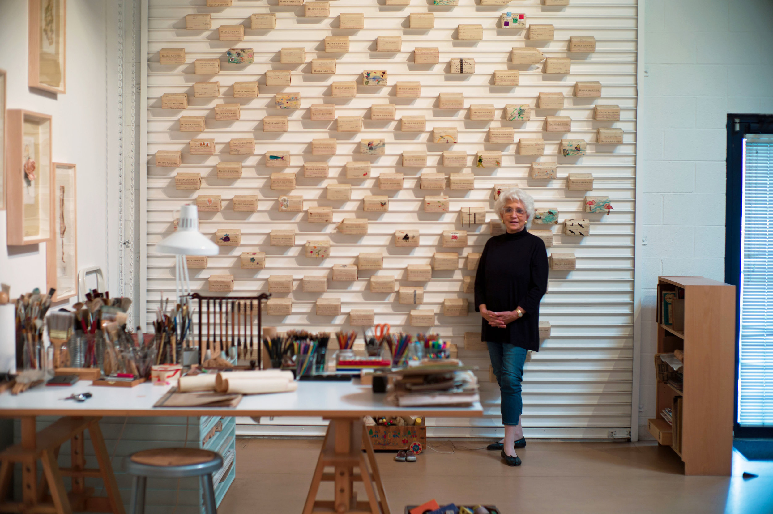 Marina Day at her art studio