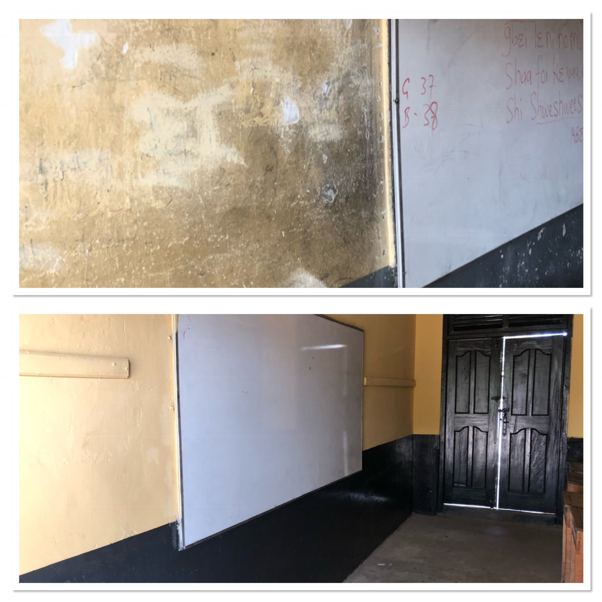 Before and after comparison of a classroom wall.