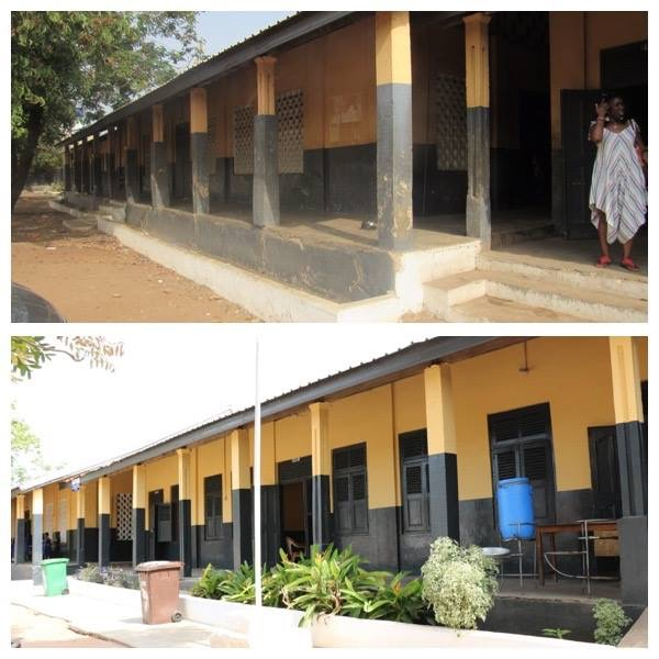 Before and after comparison of the exterior of school.