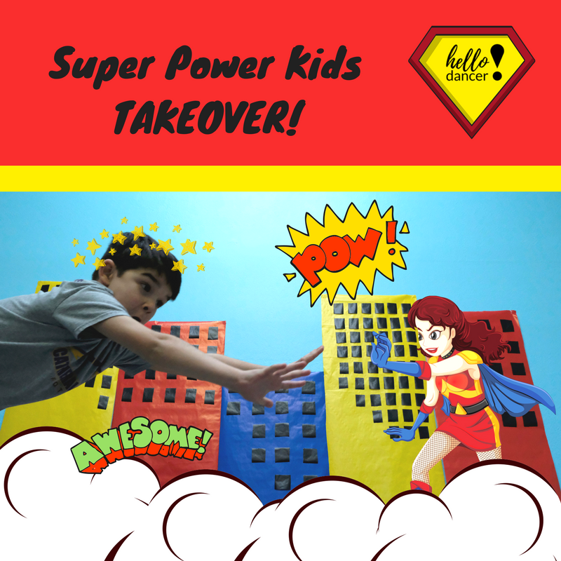 Super Power Kids Takeover - July 23rd – 27th (Combo camp with Dance-a-Saurus Takeover)Ages: 3-8 -12:30-3:00pm ($70 Early Bird/ $85 Regular) +$15 Act. Feeor al day 9-3pm ($130 Early Bird/$165 Regular)+$25 Act.FeeLook, Up in the Sky! It's a bird, no it's a plane, no it's SUPERMAN!!!! In this fun filled camp you will learn to move like a superhero, make shields, fly around in capes and help those in need! Get ready to become the Superhero you always dreamed of becoming!!!!