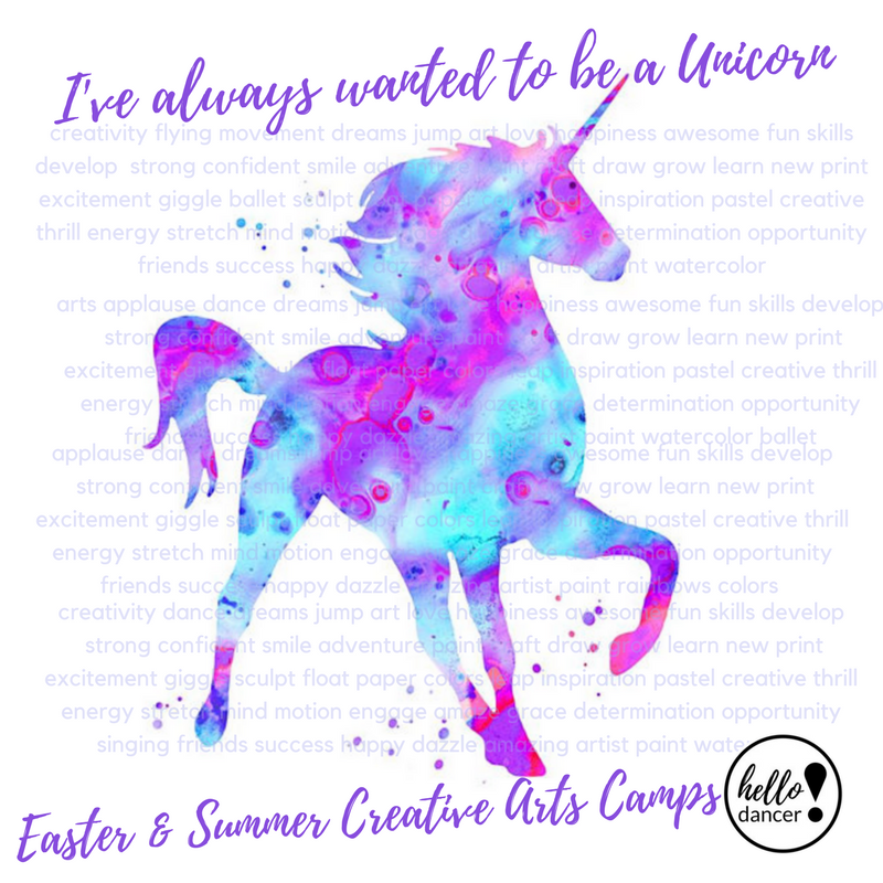 Unicorns, Rainbows, & Sparkles… Oh My! - June 18th-22ndAges 3-5 -9:00-11:30am ($70 Early Bird/ $85 Regular) +$15 Act. FeeAges 5-12 -9:00am-3:00pm ($130 Early Bird/$165 Regular)+$25 Act.FeeGet ready to put your true color on, hit the Rainbow Road, and show the world who you are! You were born to standout and sparkle in this magical ballet and high energy hip hop dance camp (All age appropriate of course)! This is a magic vibes only camp - sooo get ready for vibrant, glittering, crafts that will have you always believing in your uniself;)