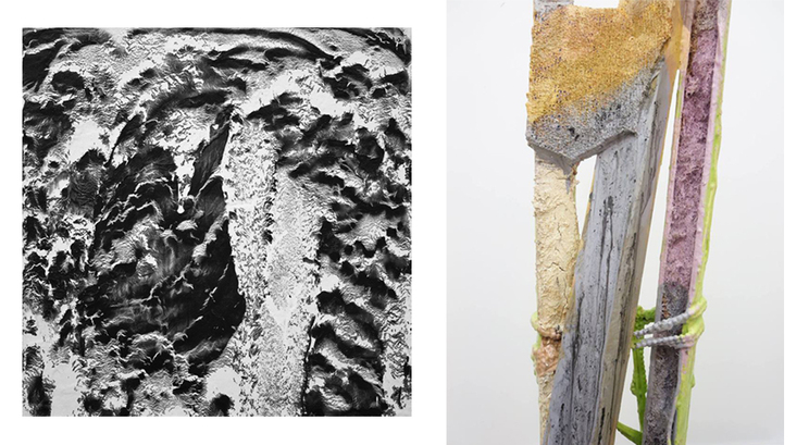 Image: Work by Scott Lewis (left), and Kuh Del Rosario (right)   LINK TO ARTICLE HERE:    http://zero1magazine.com/2014/10/tomorrow-at-field-contemporary-scott-lewis-kuh-del-rosario-nirdvandva/