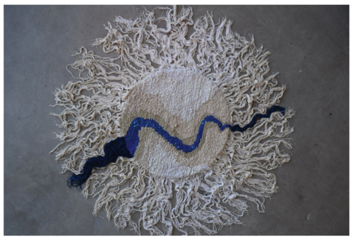 """Katherine Boyer's  Rug  (2016) is part of the Métis art survey """"Li Salay"""" opening at the Art Gallery of Alberta. The work is comprised of found fabric, string, yarn and seed beads. Collection of the artist. Image courtesy of the artist.  LINK HERE:   https://canadianart.ca/must-sees/must-sees-week-may-24-30-2018/"""