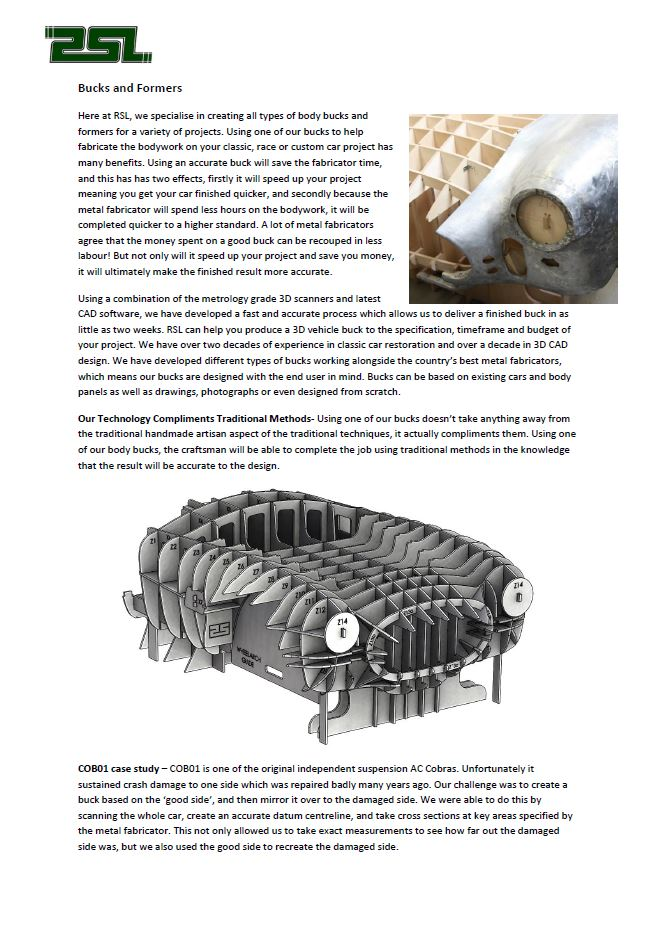 Click to Download PDF  Bucks & Formers  This PDF contains information about how we create our car bodywork buck and hammer formers