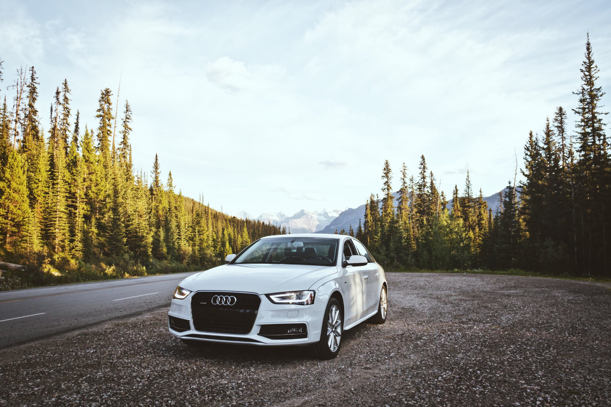 Audi on Icefields Parkway - Banff National Park