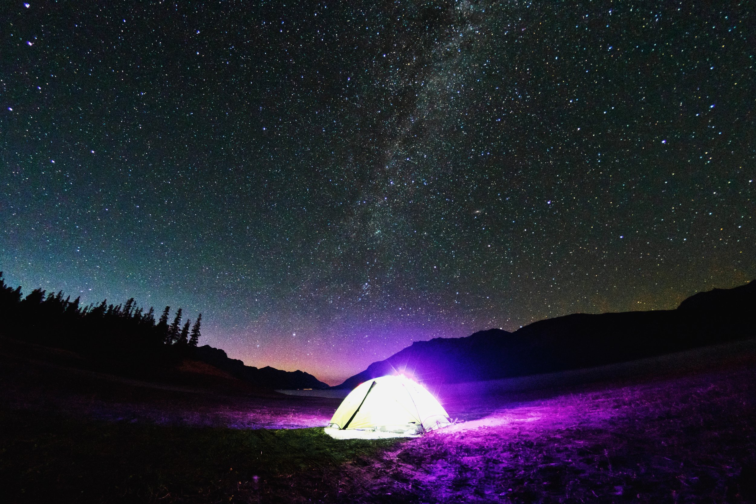 Milky Way over Tent at Abraham Lake - Alberta
